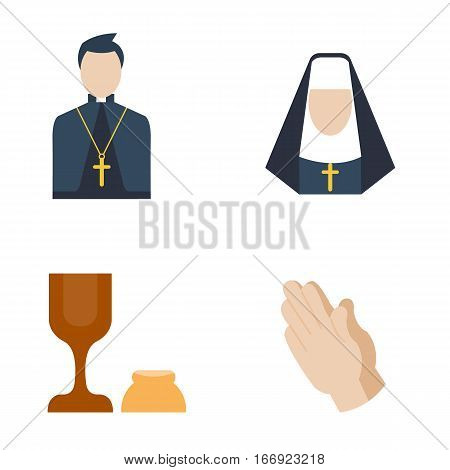 Catholic priest icon. Flat illustration of religion man vector icon for web design. Caucasian people character with holy bible book. Cartoon human preacher uniform.