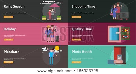 Valentine Conceptual Design | Set of great banner flat design illustration concepts for valentine, romance, holiday and much more.