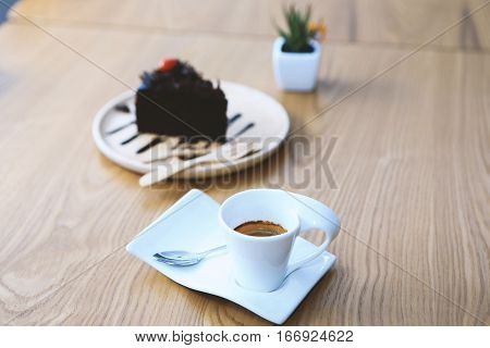 espresso cup of coffee, espresso and cake