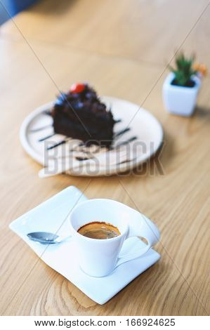 Hot espresso cup of coffee, espresso and cake