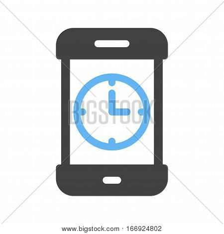 App, mobile, clock icon vector image. Can also be used for smartphone. Suitable for mobile apps, web apps and print media.