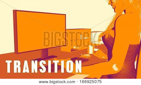 Transition Concept Course with Woman Looking at Computer 3D Illustration Render