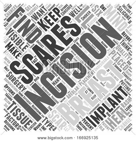 Incisions and Scaring from Breast Surgery Word Cloud Concept
