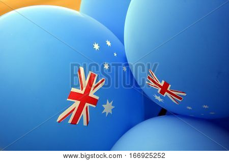 Bright Colorful Balloons of Australia National Colors. Australia Independence Day Celebration. Blue balloons with australian flag celebrating Australia Day.
