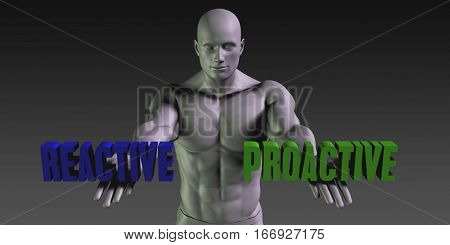 Reactive or Proactive as a Versus Choice of Different Belief 3D Illustration Render