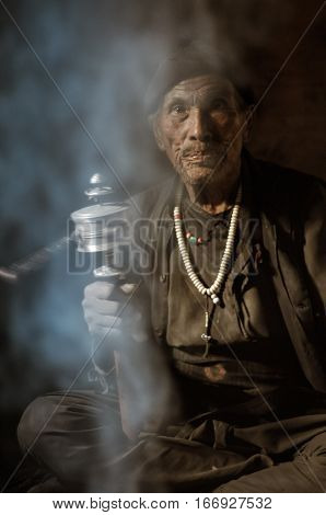 Man In Smoke In Nepal