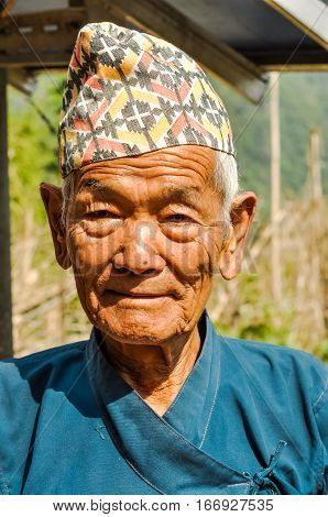Old Man With Cap In Nepal