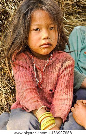 Sad Girl In Nepal