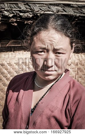 Woman In Pink Shirt In Nepal