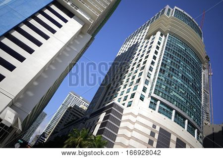 Stock image of Highrise Miami architecture on blue sky