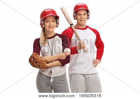 Man and woman with baseball equipment isolated on white background