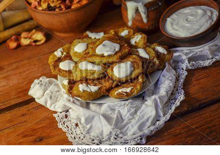 Potato Pancakes On Wooden  Table