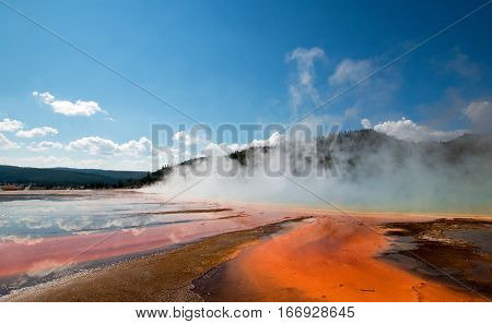 Grand Prismatic Spring in the Midway Geyser Basin in Yellowstone National Park US of A