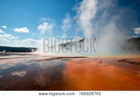 Steam coming off the Grand Prismatic Spring in the Midway Geyser Basin in Yellowstone National Park in Wyoming USA
