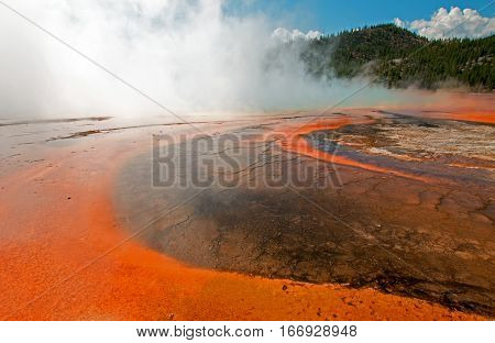 Grand Prismatic Spring in the Midway Geyser Basin in Yellowstone National Park in Wyoming US
