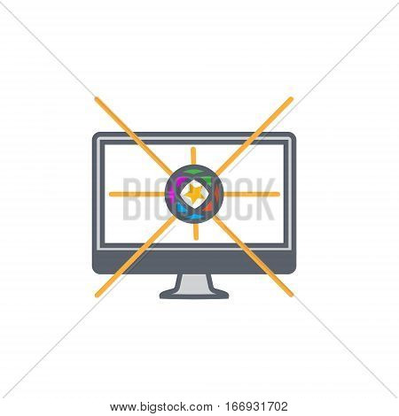 Vector icon or illustration showing internet marketing and advertising with star in outline design style