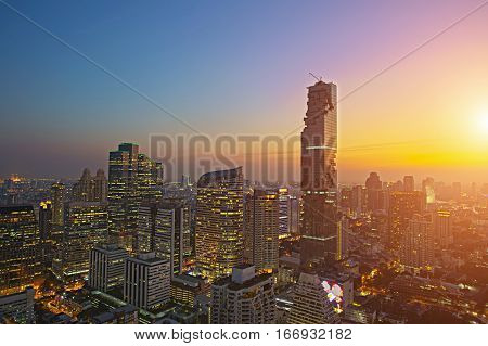 Arial view of modern office building in bangkok city