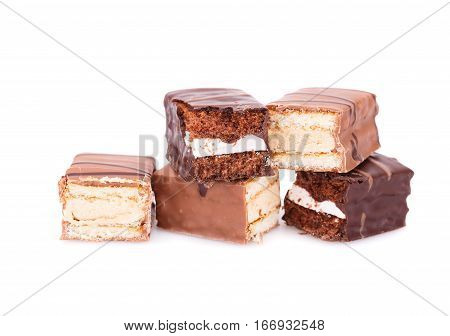 Chocolate biscuits isolated on a white background.