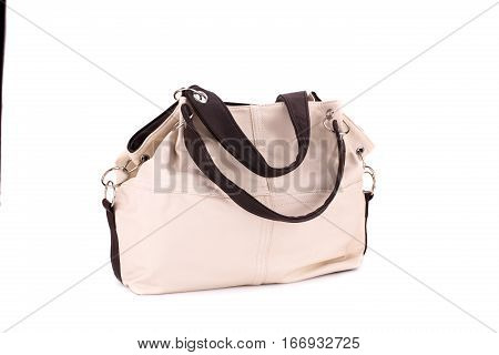 Leather handbag isolated on a white background.