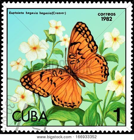 CUBA - CIRCA 1982: Postage stamp printed by Cuba shows butterfly Euptoieta hegesia, series Butterflies