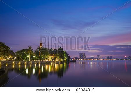 Tran Quoc Pagoda In The Afternoon In Hanoi, Vietnam. This Pagoda Locates On A Small Island Near The