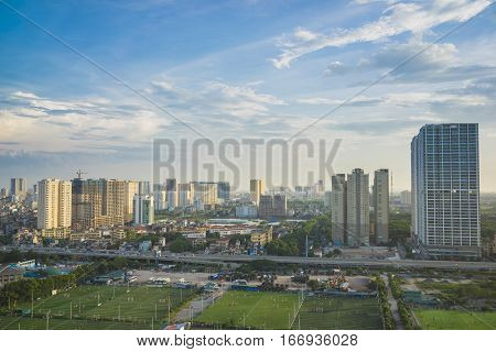Aerial View Of Hanoi Skyline Cityscape. Khuat Duy Tien Street View, Cau Giay District