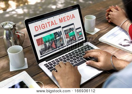 Digital Media Connecting Internet Network WWW Concept