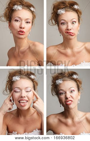 Four funnny images of a young bride expressing different emotions.