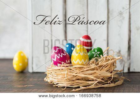 Decorated Eggs In Raffia Nest
