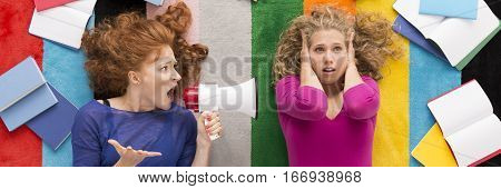 Angry Woman Yelling At Her Friend