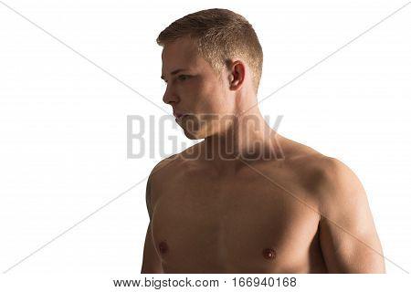 beautiful caucasian man half naked isolated on white
