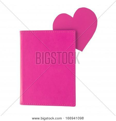 Purple paper heart bookmark inside a purple book isolated on white background