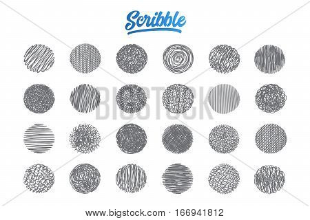 Hand drawn scribble set pattern background with blue lettering in vector