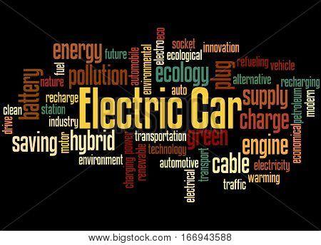 Electric Car, Word Cloud Concept 4