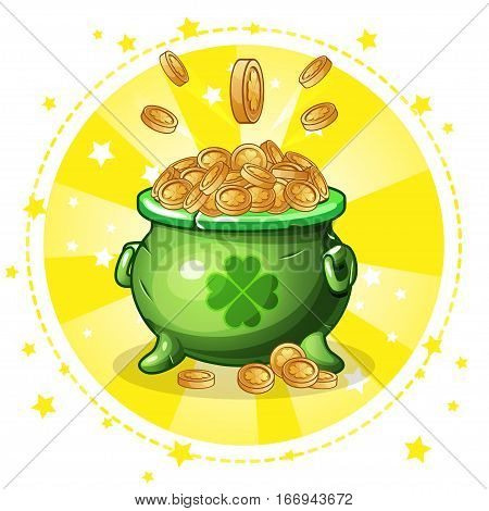Cartoon green pot of gold coins, set greeting card for St. Patrick s Day
