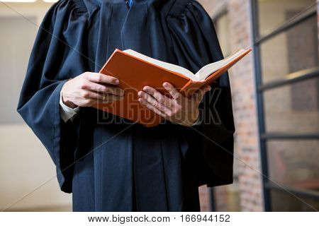 Lawyer holding a law book in office
