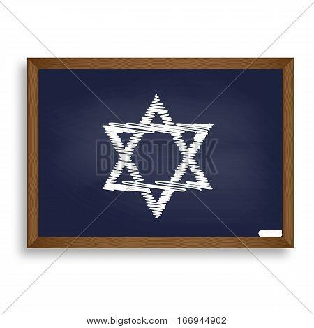 Shield Magen David Star. Symbol Of Israel. White Chalk Icon On B