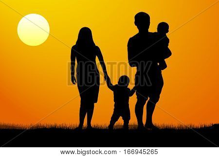 A young family with children silhouette at sunset. A man and a woman with two children at dawn.