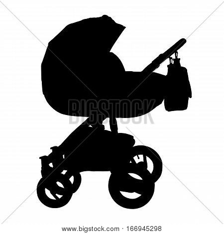 Baby carriage silhouette. Isolated stroller on white background. Vector