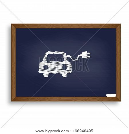 Eco Electric Car Sign. White Chalk Icon On Blue School Board Wit