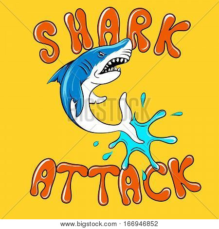 Shark attack cartoon vector poster. Illustration for no swimming danger emblem