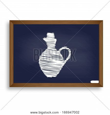 Amphora Sign Illustration. White Chalk Icon On Blue School Board