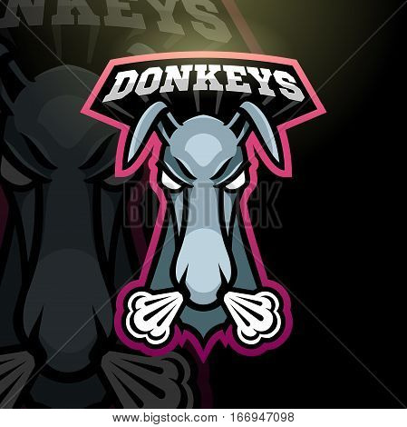 Mascot donkey logo for a sport team. Vector illustration.
