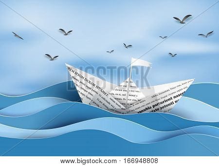 origami made paper sailing boat , paper art style.