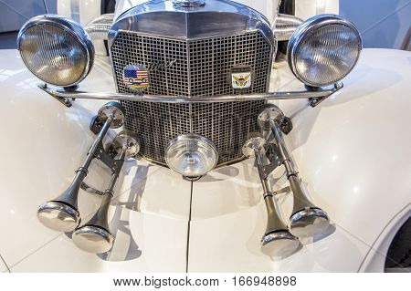 Malaga Spain - December 4 2016: Excaliber Series V Roadster 1985. Displayed at Museo Automovilistico in Malaga