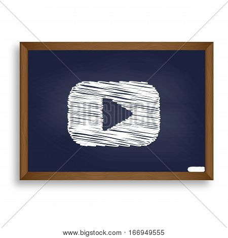 Play Button Sign. White Chalk Icon On Blue School Board With Sha