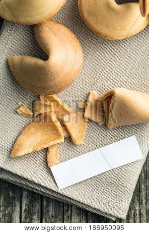 The fortune cookies on napkin. Top view.