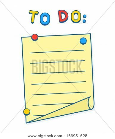 To Do List on whiteboard or fridge with magnets copy space to add your own text. Vector Illustration