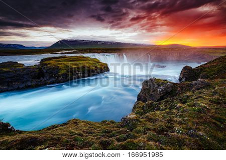 Powerful flow of water Godafoss cascade. Popular tourist attraction. Dramatic and gorgeous scene. Location place Bardardalur valley, Skjalfandafljot river, Iceland, Europe. Beauty world.