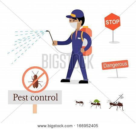 Set of pest control signs. Service employee pest control man in uniform with balloons and sprays. Banner for web page or website. Sign of a red circle with an insect. Vector illustration
